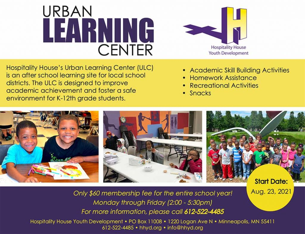 afterschool program north minneapolis hospitality house's urban learning center